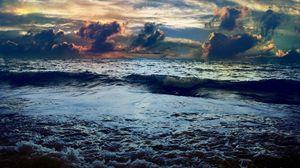 Preview wallpaper sea, storm, colors, paints, storming, sky, bad weather, horizon