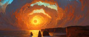 Preview wallpaper sea, sunset, art, rocks, sky, clouds, landscape