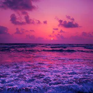 Preview wallpaper sea, sunset, horizon, surf, foam