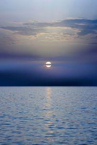Preview wallpaper sea, sunset, horizon, dark