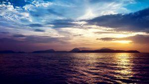 Preview wallpaper sea, sunset, rocks