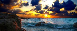 Preview wallpaper sea, surf, sunset, stones