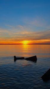 Preview wallpaper sea, water, horizon, sunset, dark