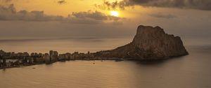 Preview wallpaper sea, water, island, sun, twilight