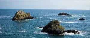 Preview wallpaper sea, water, waves, rocks, nature, landscape