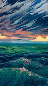 Preview wallpaper sea, waves, art, surf, horizon