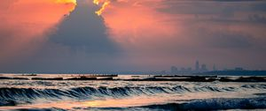 Preview wallpaper sea, waves, clouds, rays, sun, sunset