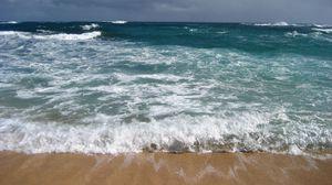 Preview wallpaper sea, waves, foam, beach, elements, force