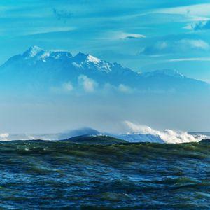 Preview wallpaper sea, waves, mountains, rocks, reefs