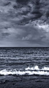 Preview wallpaper sea, waves, surf, foam, black and white