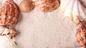 Preview wallpaper seashells, frame, sand
