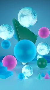 Preview wallpaper shapes, geometric, 3d, balls, spheres