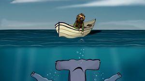Preview wallpaper shark, boat, man, sea, depth, art