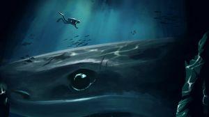 Preview wallpaper shark, diver, underwater, cave, depth