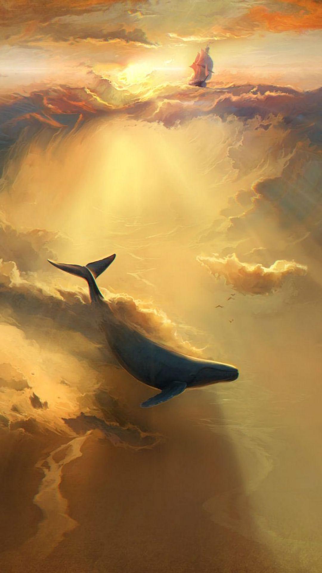1080x1920 Wallpaper shark, dolphin, sea, art, underwater world