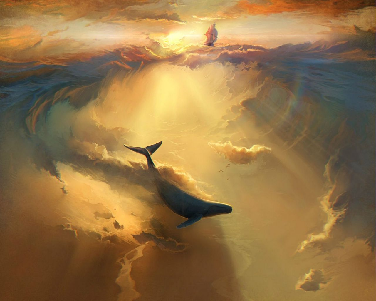 1280x1024 Wallpaper shark, dolphin, sea, art, underwater world