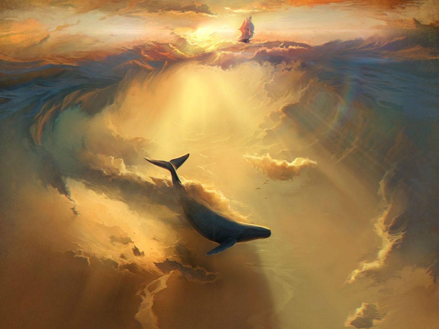 1400x1050 Wallpaper shark, dolphin, sea, art, underwater world