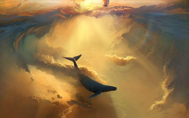 1440x900 Wallpaper shark, dolphin, sea, art, underwater world