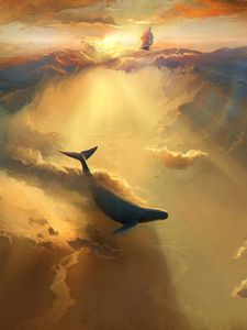 Preview wallpaper shark, dolphin, sea, art, underwater world