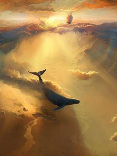 240x320 Wallpaper shark, dolphin, sea, art, underwater world