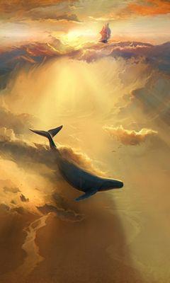 240x400 Wallpaper shark, dolphin, sea, art, underwater world