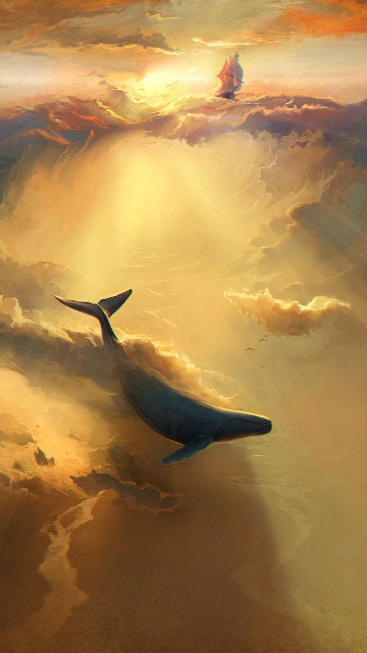 720x1280 Wallpaper shark, dolphin, sea, art, underwater world