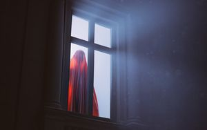 Preview wallpaper ghost, window, silhouette, fabric, folds, light, rays