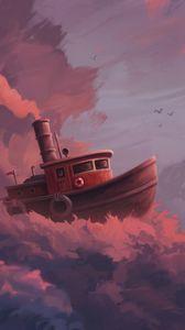 Preview wallpaper ship, clouds, art, sky, sail, fantastic