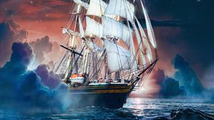 Preview wallpaper ship, sea, waves, moon, stones, art