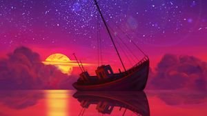 Preview wallpaper ship, full moon, horizon, sunset, art