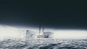 Preview wallpaper ship, iceberg, ice, fog, sea, sky