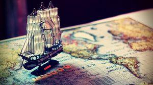 Preview wallpaper ship, map, world, souvenir