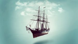 Preview wallpaper ship, minimalism, sky, clouds