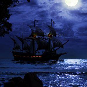 Preview wallpaper ship, night, sea, art, waves