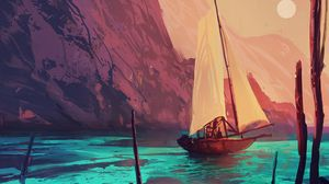 Preview wallpaper ship, sail, art, boat, paint