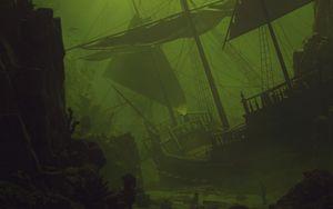 Preview wallpaper ship, sail, underwater, green, dark