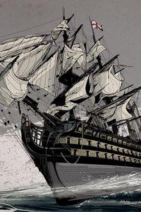 Preview wallpaper ship, sea, sail, english ship