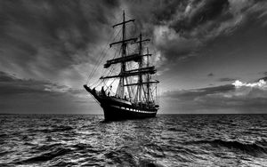 Preview wallpaper ship, sea, sail, storm, black white