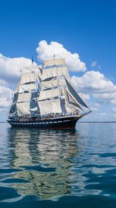 Preview wallpaper ship, sea, sky, sail, wave