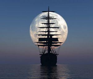 Preview wallpaper ship, sea, sunset, moon