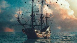 Preview wallpaper ship, sea, waves, birds, twilight