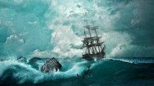 Preview wallpaper ship, storm, waves, anchor, photoshop