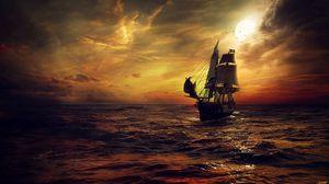 Preview wallpaper ship, sun, sunset, sails