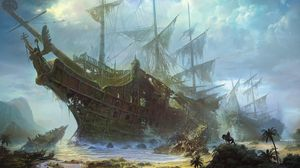 Preview wallpaper ships, old, wreckage, beach, sea, sky, clouds