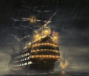 Preview wallpaper ships, sea, light, rain