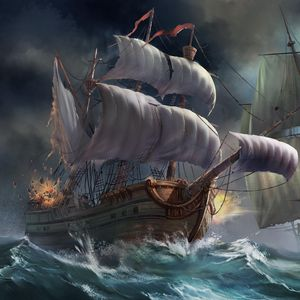Preview wallpaper ships, sea, storm, explosion