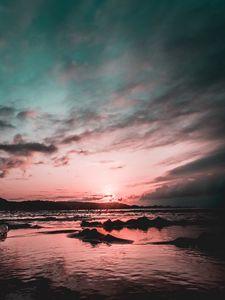 Preview wallpaper shore, beach, sunset, ocean, sand, sunlight, shallows