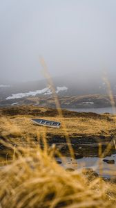 Preview wallpaper shore, boat, fog, lake, hills