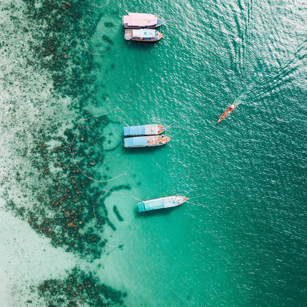 1280x1280 Wallpaper shore, boats, sandbar, ocean, moored, aerial view