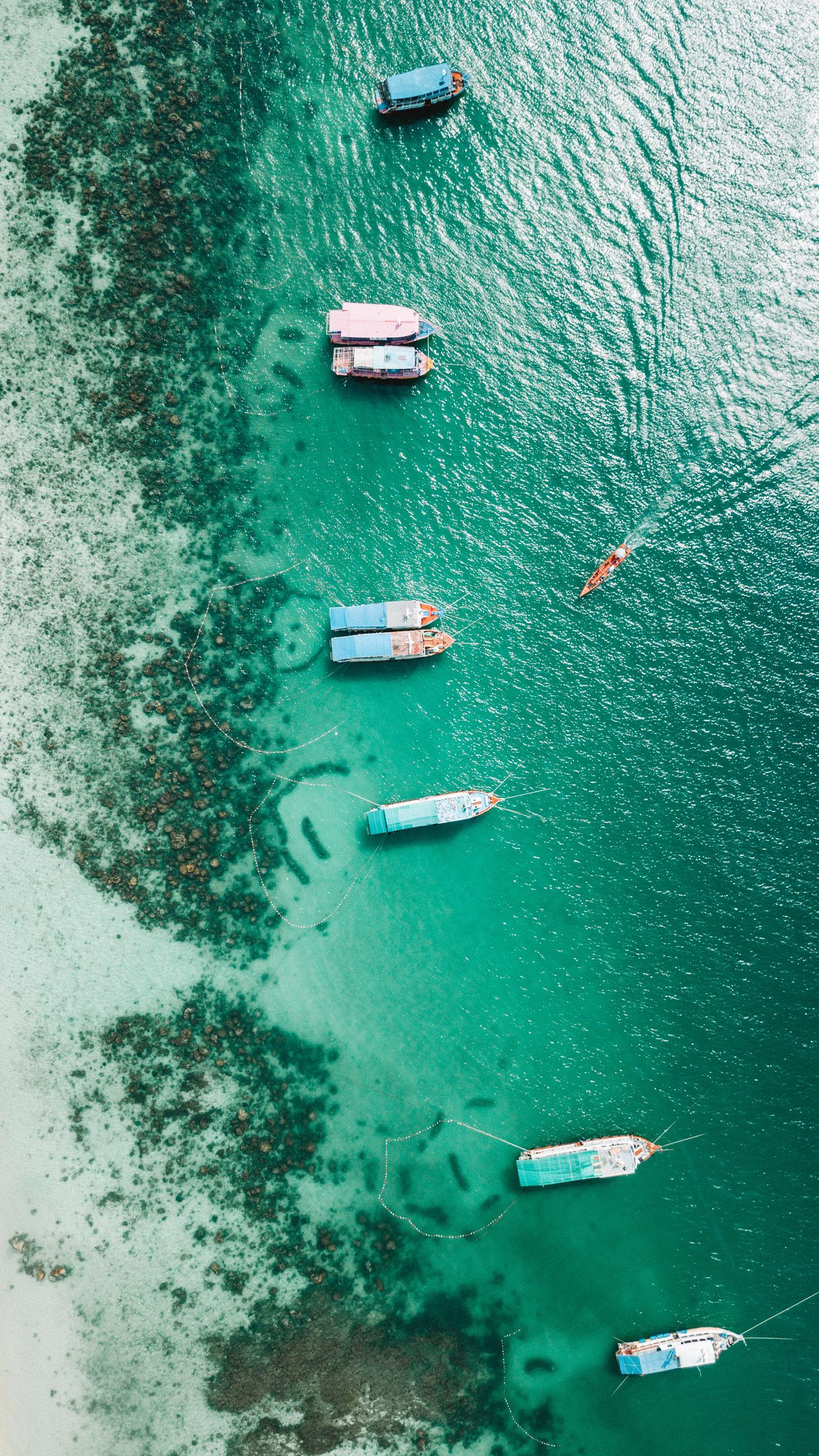 1350x2400 Wallpaper shore, boats, sandbar, ocean, moored, aerial view